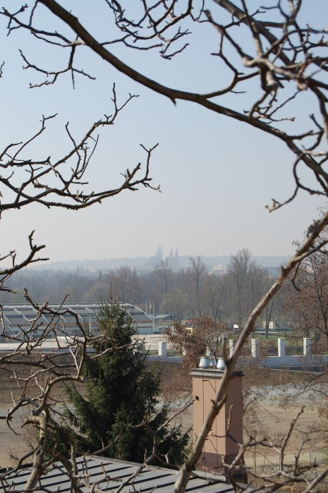 Prague City center in the distance