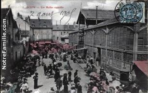 Postcard: Indoor & Outdoor Markets, Dijon, ~ 1900s