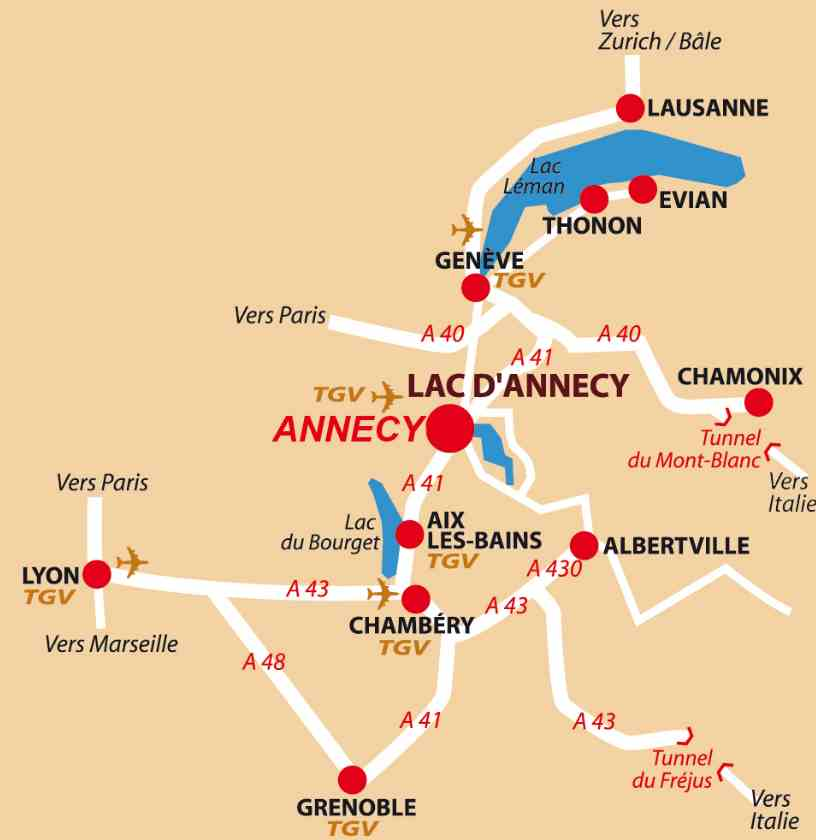 map location annecy france le splendide voyage. Black Bedroom Furniture Sets. Home Design Ideas