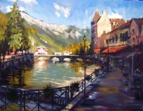 Painting,: Annecy, Venice of the Alps, Rick Reinert, France