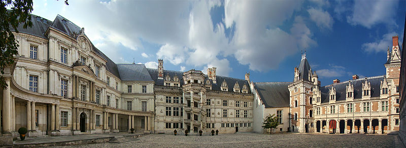 Grand façade of the Royal Château de Blois, Blois, Loire Valley, France