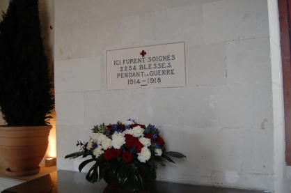 WW I memorial, Chenonceau became an army hospital, Loire Valley, France