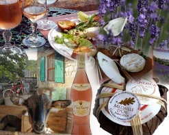 Banon Cheese (goat cheese) & Provençal Rosé Wine, Provence, France