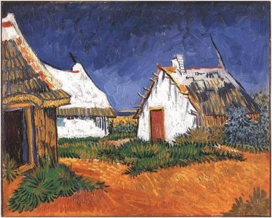 Vicent Van Gogh painting, 1888: Three White Cottages in Saintes-Maries-de-la-Mer, Camargue, France