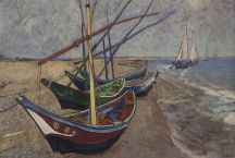 Vincent van Gogh painting, 1888: boats & strand, Saintes-Maries-de-la-Mer, Camargue,France