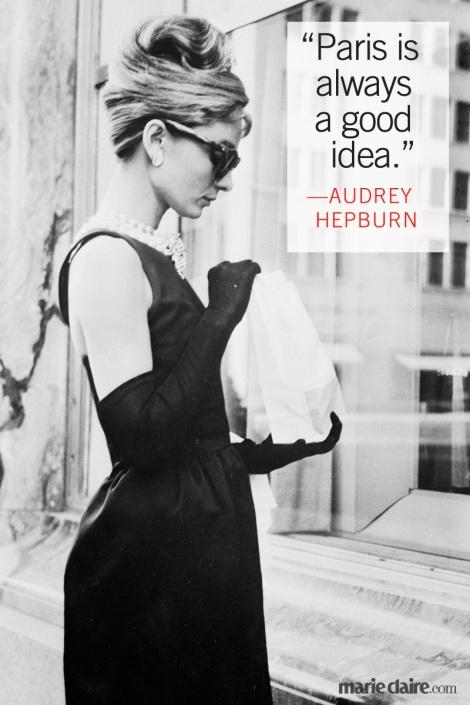 Paris is always a good idea, quote Audrey Hepburn in Sabrina