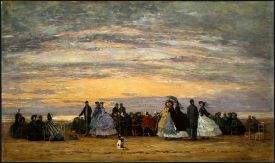 Jacquemart-André Museum, The Beach at Villerville 1864 Eugène Boudin, Exhibit, Paris, France from http://musee-jacquemart-andre.com/en/home