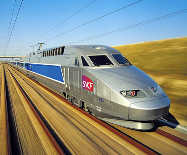 TGV (Train à Grande Vitesse, high-speed train) operated by SNCF voyages, France