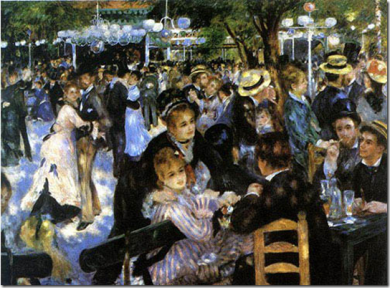 Montmartre, The Moulin de la Galette by Pierre-Auguste Renoir, This setting was located near the top of Montmartre, Paris, France