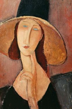 Jeanne Hébuterne portrait in a large hat by Amadeo Modigliani, from Private Collection / Giraudon / The Bridgeman Art Library