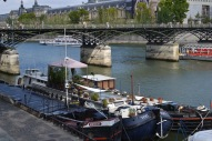 Pont de l'Archevêché, Seine, house boats Paris, France