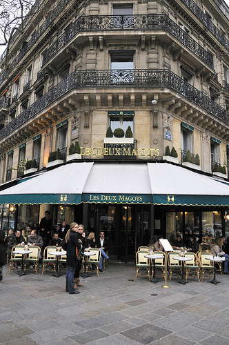 Saint-Germain-des-Prés on the 6th arrondissement Paris, Les Deux Magots Café, Paris, France